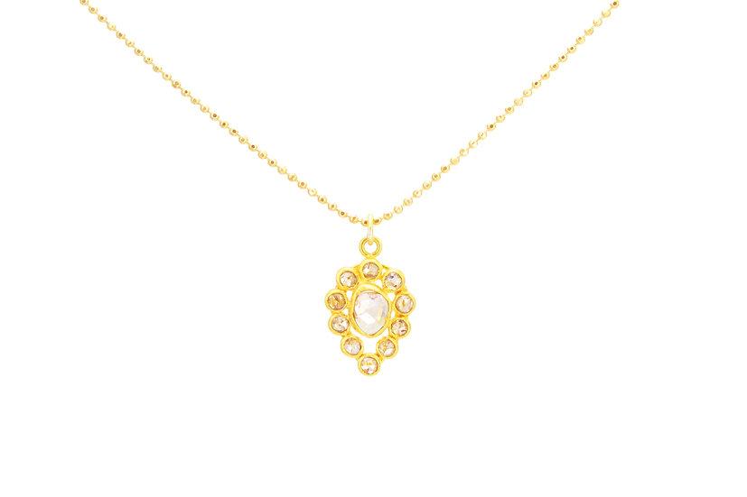 14k Rose Cut Diamond Drop