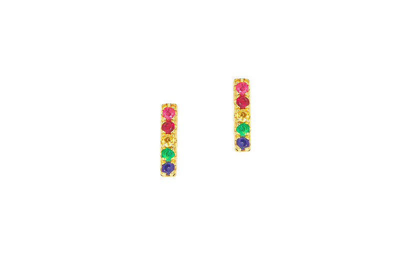 Multi Color Gemstone Stud