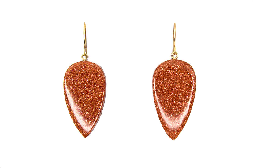 Goldstone Drops + 14k Gold