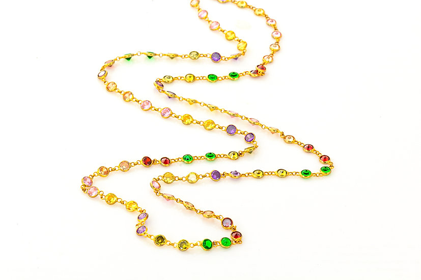CZ Rainbow Chain Long Necklace
