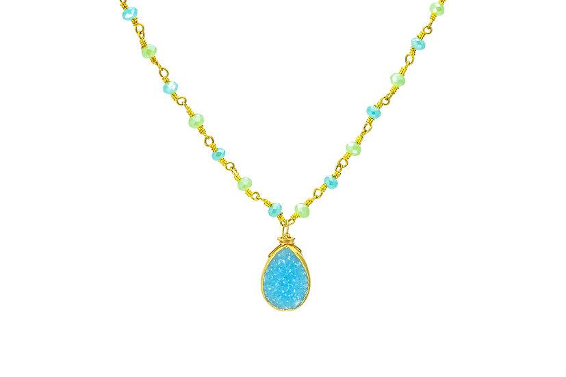 Blue Druzy Slice Necklace