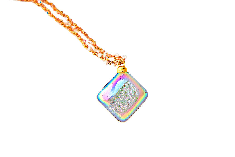 Rainbow Druzy on Coral Woven Chain