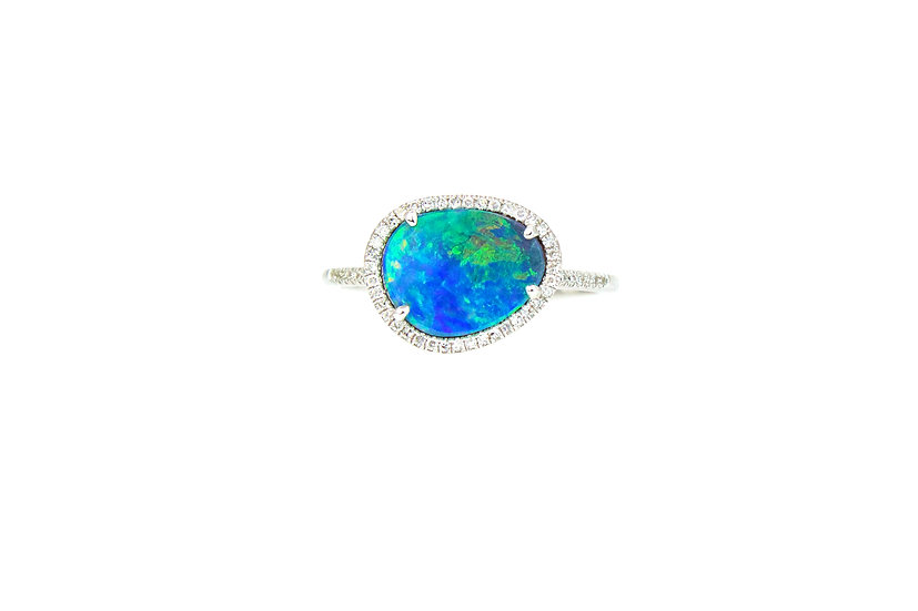 Opal, Diamond + 14k White Gold Ring
