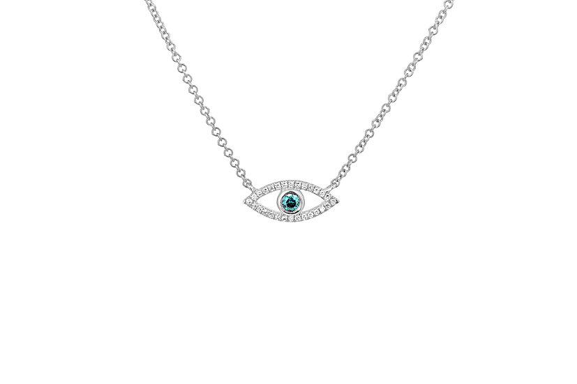 14k White Gold + Blue Diamond