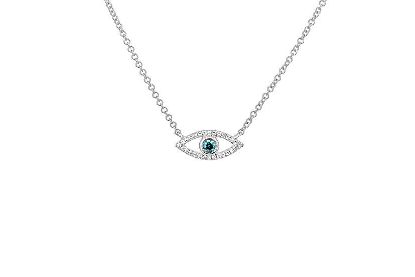 14k White Gold + Blue Diamond