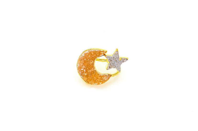 Moon and Star Druzy Ring