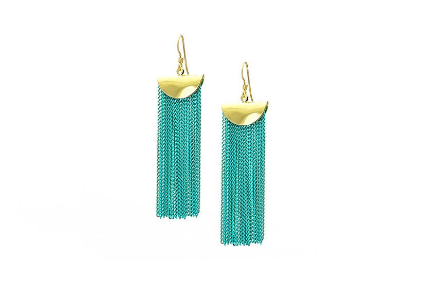 Mint Chain Cascade Earrings