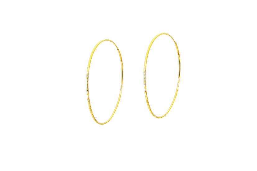 14k Yellow Gold Hammered Hoops