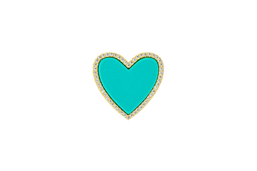 Turquoise CZ Heart Ring