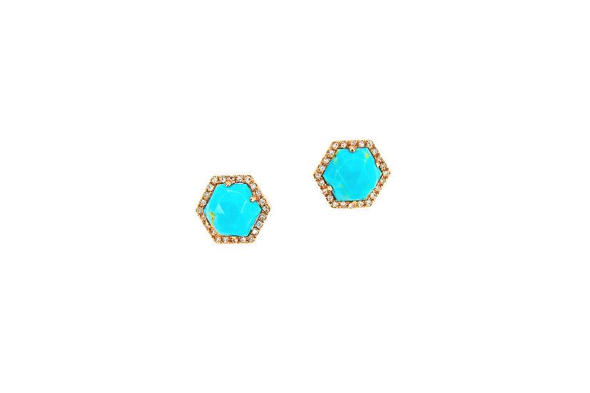 Diamond, Turquoise + Rose Gold Studs