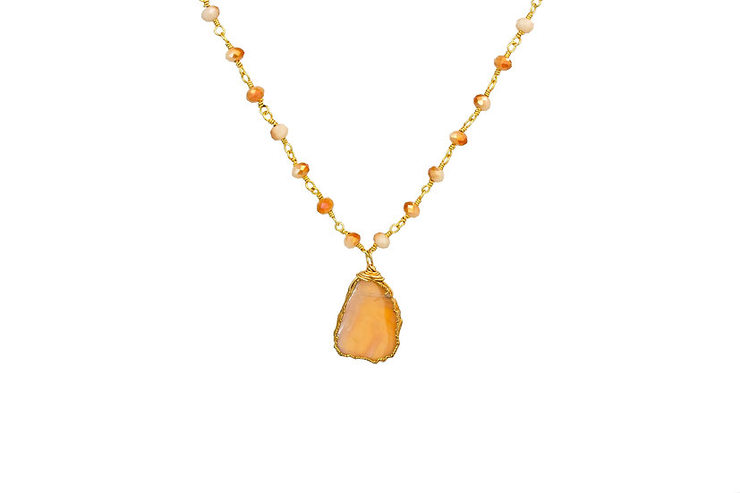 Peach Moonstone Slice Necklace