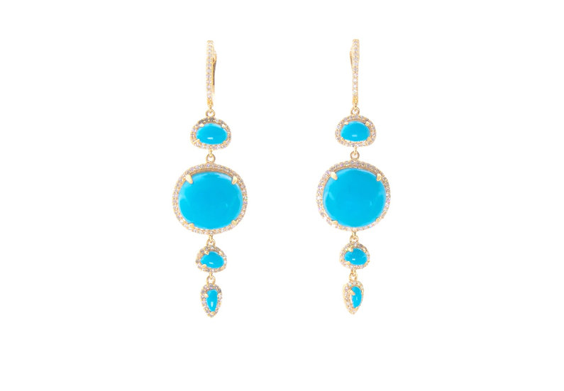 Turquoise + Diamond Earrings