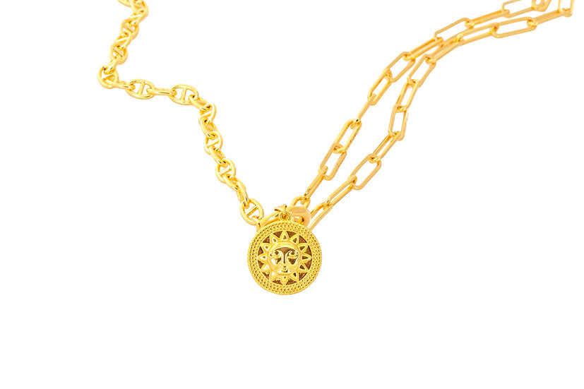Sun Charm Duo Chain Necklace