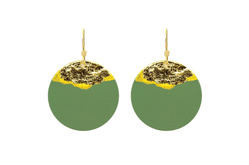 Gold Dipped Coin Earrings -Deep Green