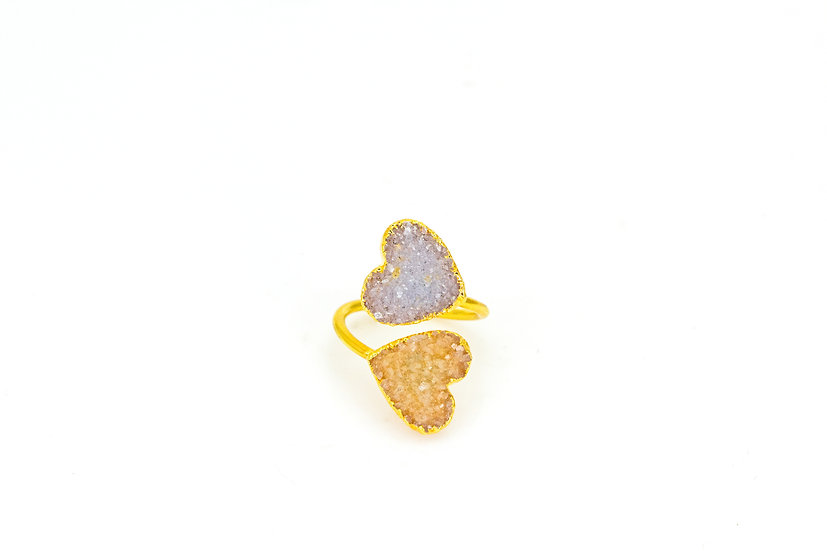 Twisted Druzy Heart Ring