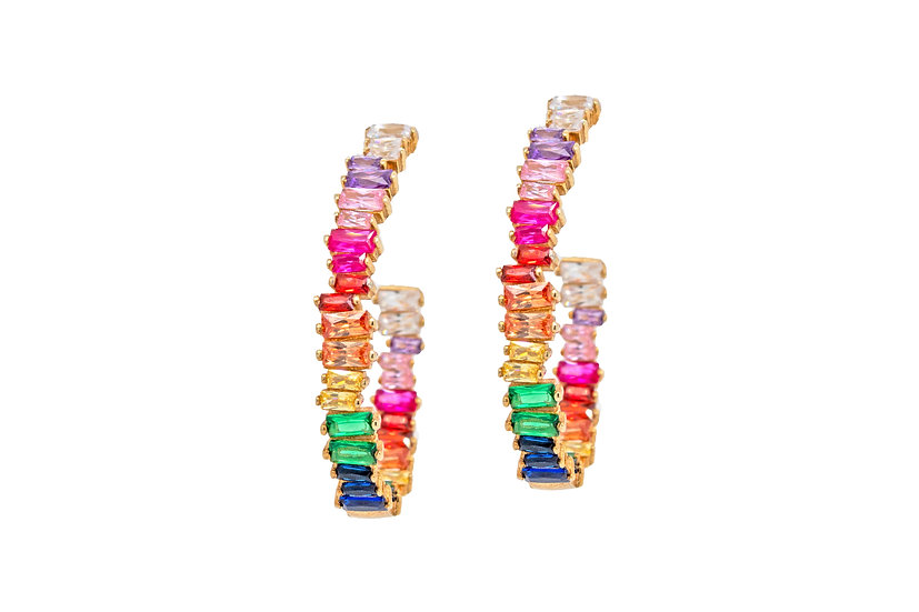 CZ Rainbow Hoop Earrings