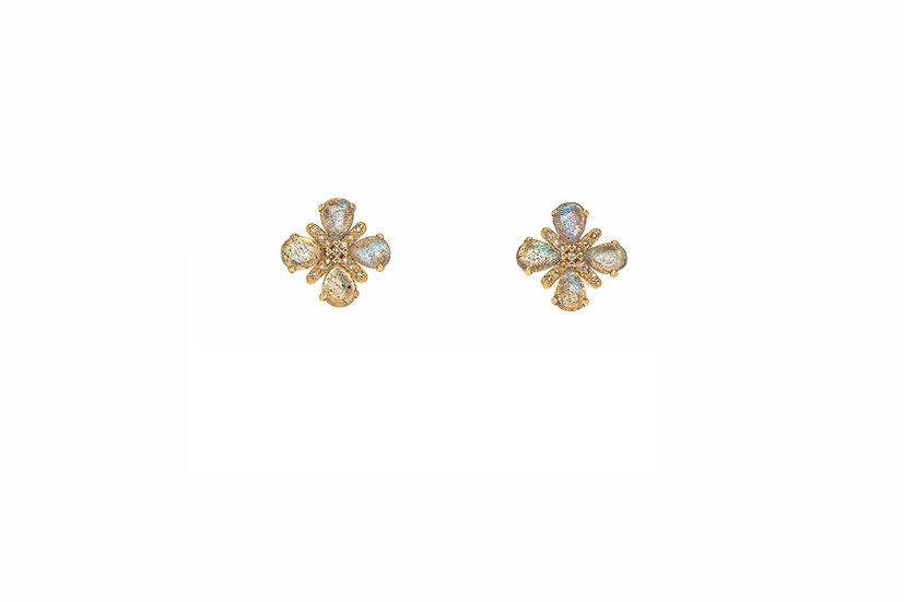 Labradorite + Diamond 14k Gold Studs