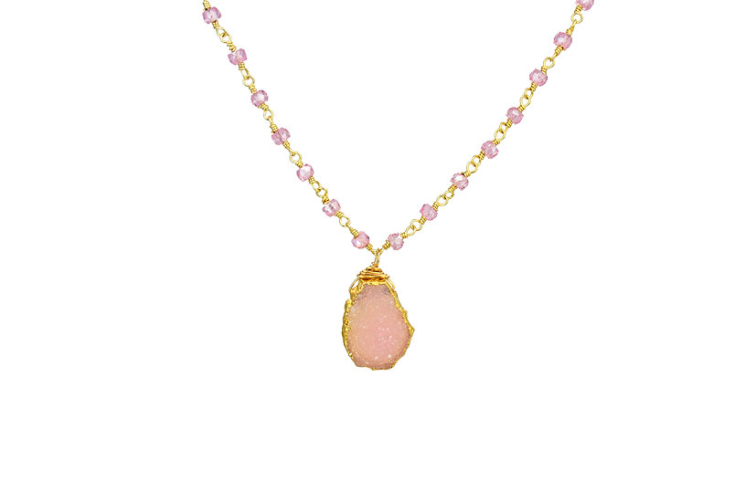 Natural Pink Druzy Slice and Cz Necklace