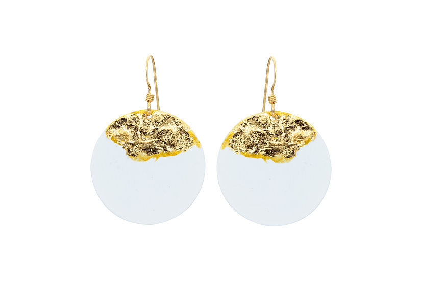 Gold Dipped Coin Earrings -White