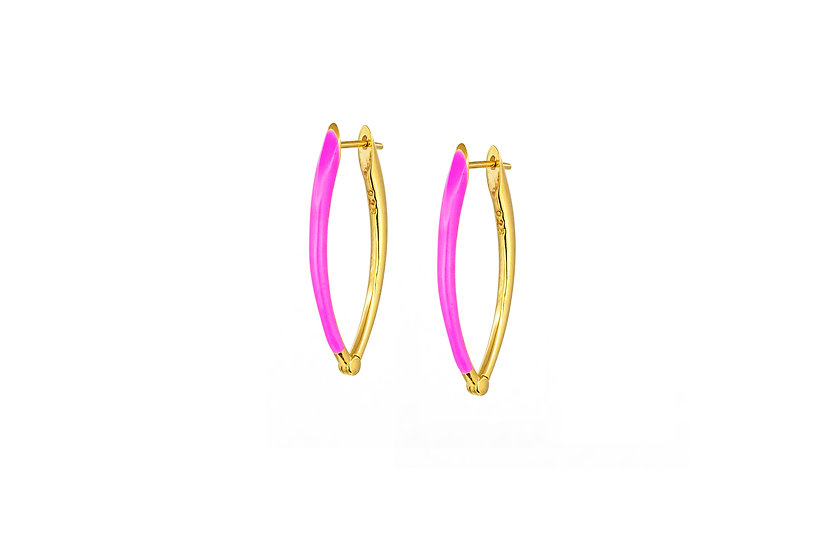 Neon Pink and Gold Vermeil Earrings