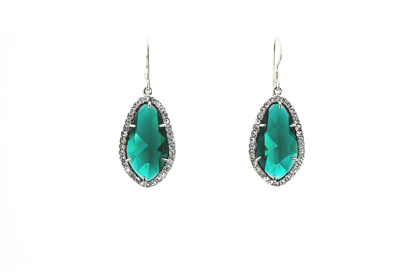 Deco CZ Color Therapy Silver | Emerald