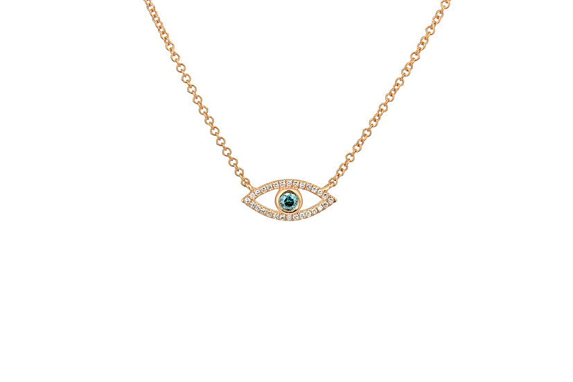 Blue Diamond + 14k Rose Gold Evil Eye