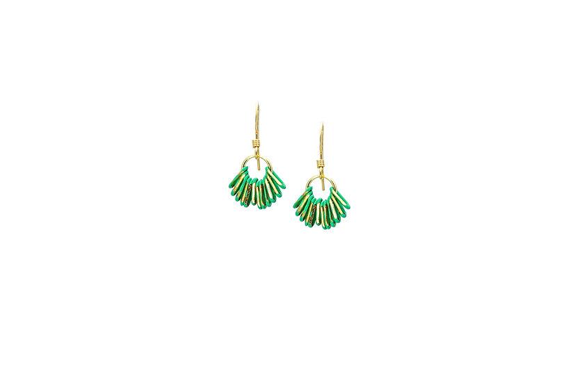 Mini Chain Earrings: Emerald