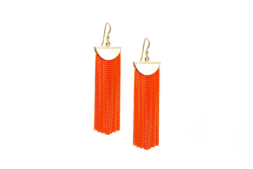 Neon Orange Chain Earrings