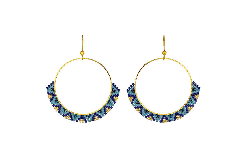 Tribal Beaded Hoops