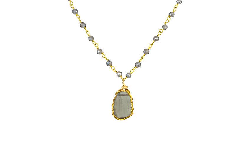 Gray Moonstone Slice Necklace