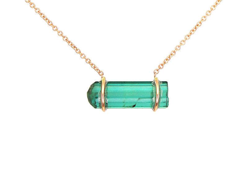 Green Tourmaline +14k Rose Gold