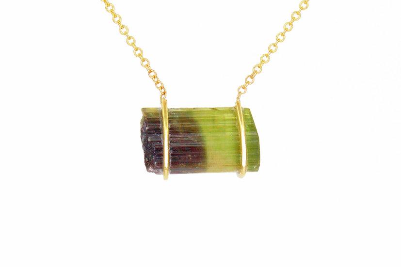 Bi-Color Green Tourmaline + 14k Gold