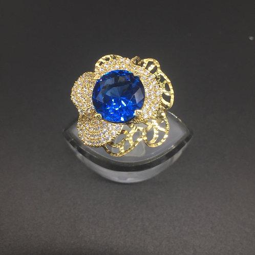 Nhẫn vàng nữ hoa đá xanh nước biển VJC 610