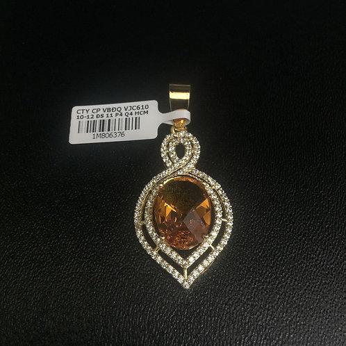 Mặt dây chuyền vàng đá màu cam VJC 610