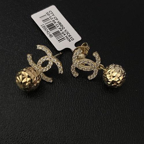 Bông tai chanel vàng đá trắng VJC 610