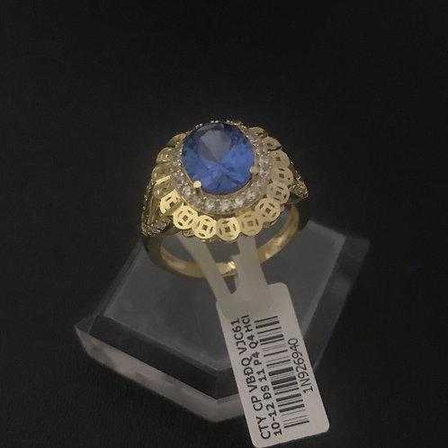 Nhẫn nữ đồng tiền vàng đá Xanh biển VJC 610