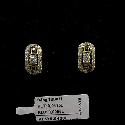 Bông tai đồng tiền vàng đá trắng VJC 610