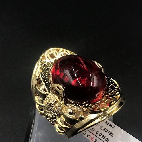 Nhẫn nam kim tiền vàng đá đỏ