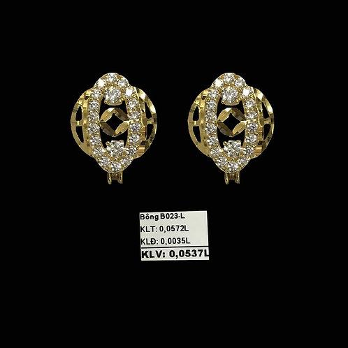 Bông tai vàng đá trắng VJC 610