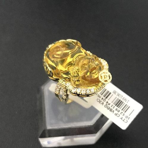 Nhẫn nữ tỳ hưu đá màu vàng VJC 610