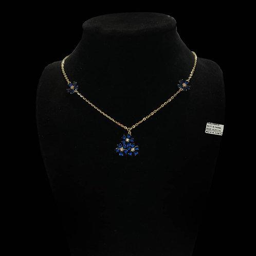 Dây chuyền hoa vàng đá xanh biển VJC 610