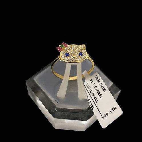 Nhẫn mèo vàng đá nhiều màu VJC 610
