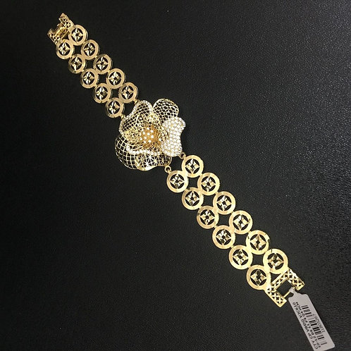 Lắc tay vàng đồng tiền dây đôi hoa VJC 610