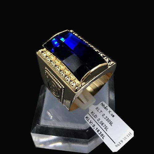 Nhẫn nam Kim tiền vàng đá xanh biển VJC 610