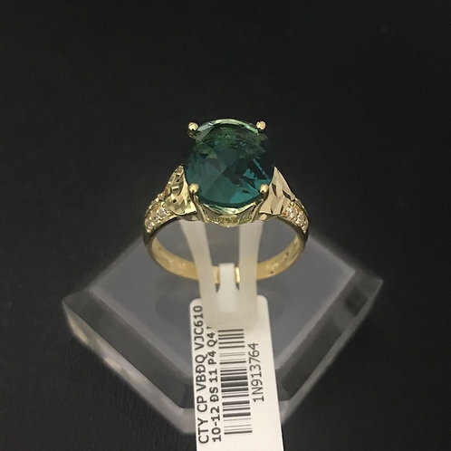 Nhẫn vàng nữ đá xanh lá cây VJC 610