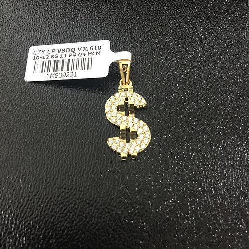 Mặt dây chuyền vàng đô la đá trắng VJC 610