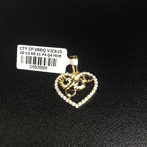 Mặt dây chuyền vàng trái tim đá trắng