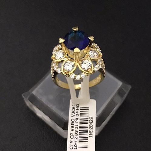 Nhẫn nữ hoa vàng đá Xanh biển VJC 610