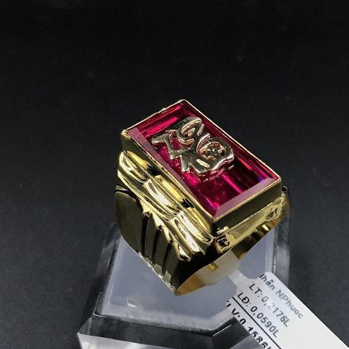 Nhẫn nam chữ Phước vàng đá đỏ