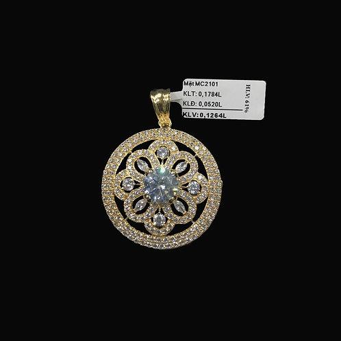 Mặt dây hoa vàng đá trắng VJC 610